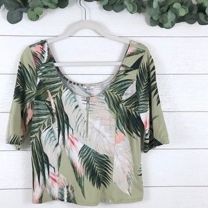 Guess • Palm Leaf Zip Front Crop Top